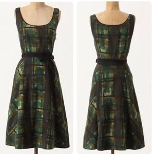 Anthropologie // Maeve Green Painted Plaid Dress